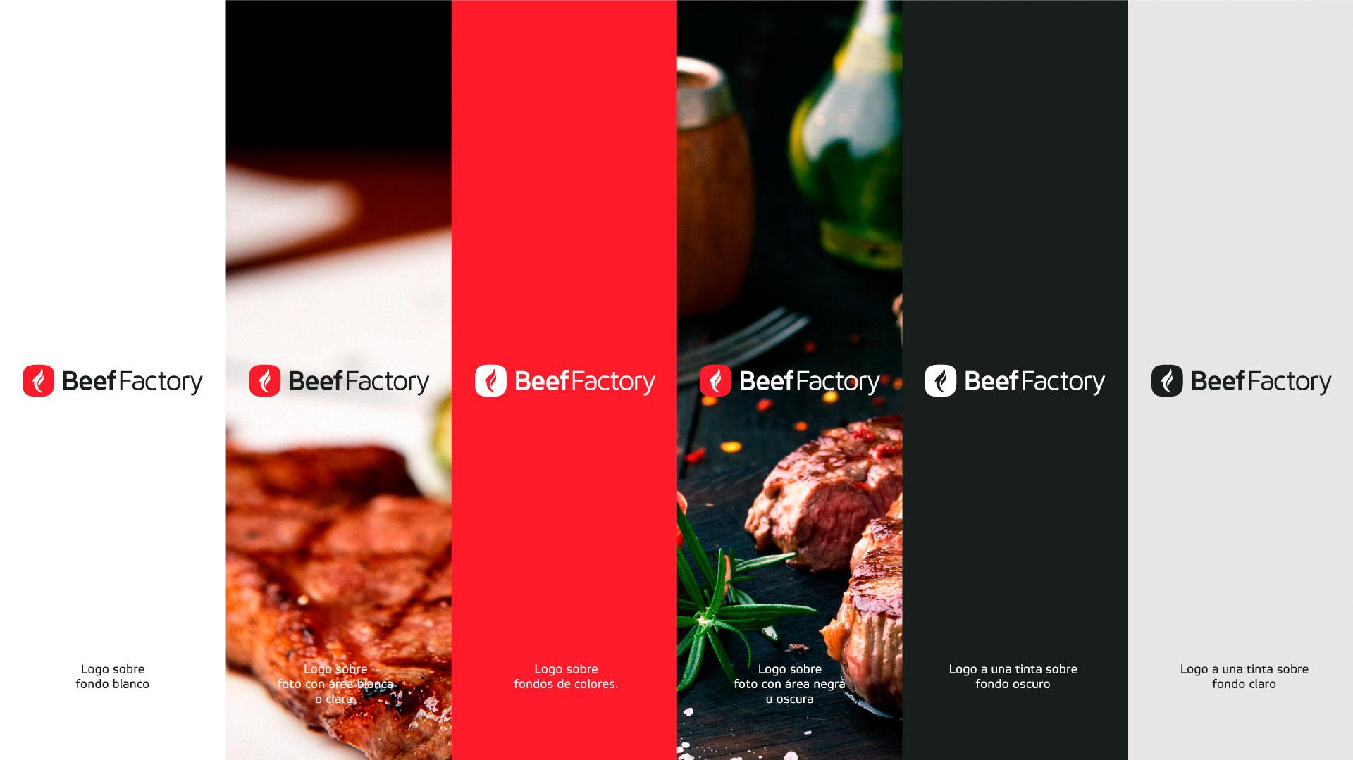 Beef Factory Variaciones de logo sobre fondos